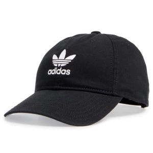 Adidas   black   embroidered trefoil logo hat  